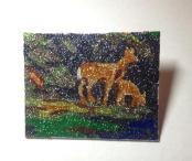 """Dear Deer - 4"""" x 5"""", gliter on canvas board, 2014"""