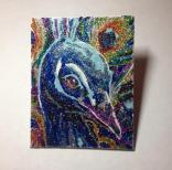 "SOLD! Peacock Party (1) - 4"" x 5"", glitter on canvas board, 2014"
