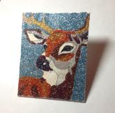 "SOLD! Stag - 4"" x 5"", glitter on canvas board, 2014"
