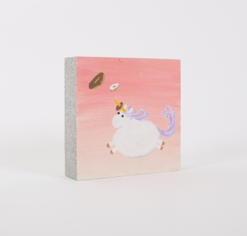 "SOLD! Ring Toss - 6"" x 6"", acrylic and glitter on wood panel, 2015"