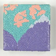 "SOLD! For Purple Mountain's Majesty - 6"" x 6"", sequins on canvas, 2010"