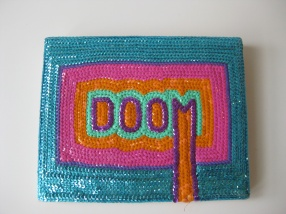 """Dommsday Sequins - 8"""" x 10"""", sequins on canvas, 2011"""