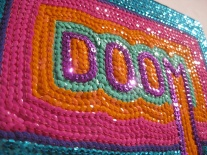 "Doomsday Sequins - 8"" x 10"", sequins on canvas, 2011"