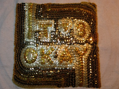"SOLD! It's Okay #1 - 6"" x 6"", sequins on canvas, 2012"